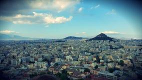 Skyline de Atenas da acrópole fotografia de stock