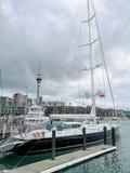 Skyline de Auckland Vista da bacia do viaduto com um veleiro no primeiro plano imagem de stock