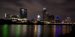 Skyline de Austin (noite) Fotos de Stock Royalty Free
