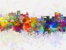 Skyline de Avila no fundo da aquarela Foto de Stock