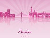 Skyline de Badajoz na orquídea brilhante roxa Fotos de Stock