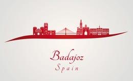 Skyline de Badajoz no vermelho Fotografia de Stock Royalty Free