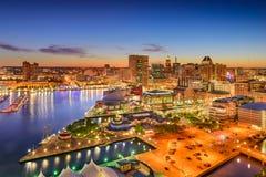 Skyline de Baltimore Maryland foto de stock