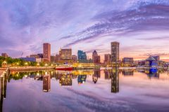 Skyline de Baltimore, Maryland, EUA imagem de stock royalty free