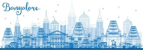 Skyline de Bangalore do esboço com construções azuis Imagem de Stock