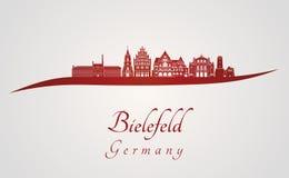 Skyline de Bielefeld no vermelho Fotografia de Stock