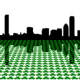 Skyline de Boston com shamrocks Foto de Stock