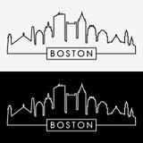 Skyline de Boston estilo linear ilustração stock