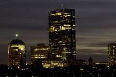 Skyline de Boston no crepúsculo Fotografia de Stock