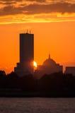 Skyline de Boston no por do sol Imagens de Stock