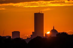 Skyline de Boston no por do sol Fotos de Stock
