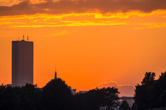 Skyline de Boston no por do sol Fotografia de Stock Royalty Free