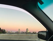 Skyline de Boston no por do sol Fotos de Stock Royalty Free