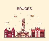 Skyline de Bruges, linha do vetor de Flanders ocidental, Bélgica ilustração royalty free