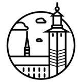 Skyline de Bruxelas, silhueta monocrom?tica Vetor ilustração royalty free