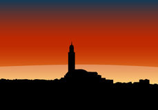 Skyline de Casablanca no por do sol Imagem de Stock Royalty Free