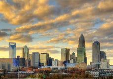 Skyline de Charlotte da parte alta da cidade Fotografia de Stock