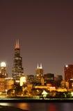 Skyline de Chicago da noite Imagem de Stock Royalty Free