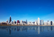 Skyline de Chicago do lago Michigan Fotografia de Stock