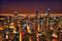 Skyline de Chicago na noite foto de stock