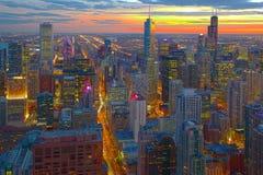 Skyline de Chicago na noite Fotografia de Stock Royalty Free