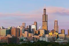 Skyline de Chicago no crepúsculo. Fotos de Stock