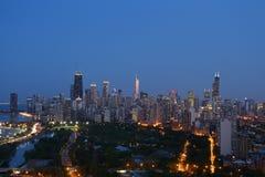 Skyline de Chicago no crepúsculo Imagens de Stock Royalty Free
