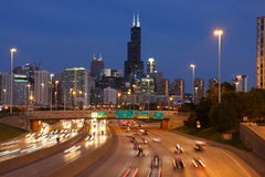 Skyline de Chicago no crepúsculo Fotos de Stock