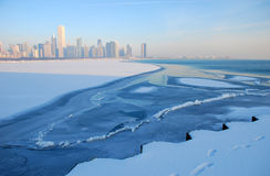 Skyline de Chicago no gelo Imagem de Stock