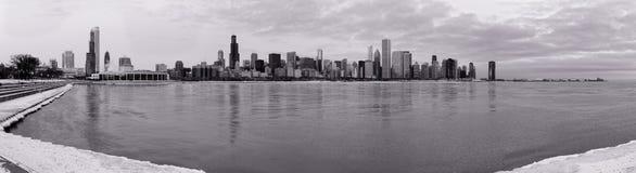 Skyline de Chicago no inverno Fotografia de Stock