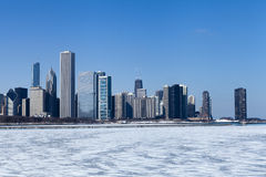 Skyline de Chicago no inverno foto de stock royalty free