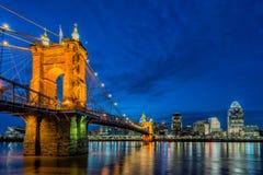 Skyline de Cincinnati, ponte de Roebling, Ohio Imagens de Stock