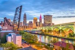 Skyline de Cleveland, Ohio, EUA fotografia de stock
