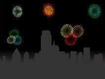 Skyline de Dallas com fogos-de-artifício ilustração stock