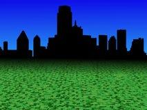 Skyline de Dallas com ilustração abstrata do primeiro plano da moeda do dólar ilustração royalty free