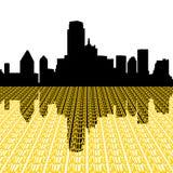 Skyline de Dallas com texto ilustração stock