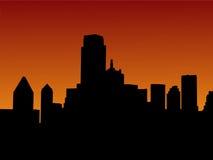 Skyline de Dallas no por do sol ilustração royalty free