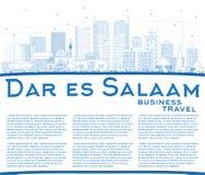 Skyline de Dar Es Salaam Tanzania City do esboço com construções azuis Fotografia de Stock Royalty Free