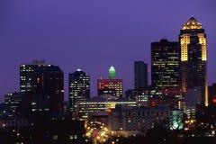 Skyline de Des Moines Imagens de Stock