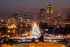 Skyline de Des Moines Foto de Stock Royalty Free