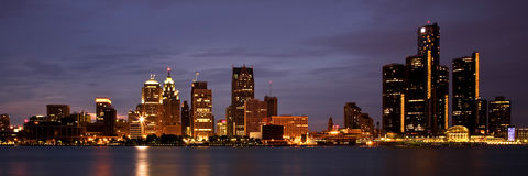 Skyline de Detroit Michigan Fotos de Stock Royalty Free