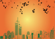 Skyline de Dubai ilustração do vetor