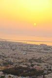 Skyline de Dubai no por do sol Imagem de Stock Royalty Free