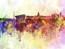 Skyline de Dublin no fundo da aquarela ilustração stock