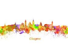 Skyline de Glasgow Watercolor Foto de Stock