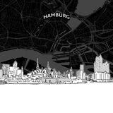 Skyline de Hamburgo com mapa ilustração stock