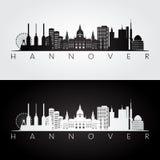 Skyline de Hannover e silhueta dos marcos ilustração stock