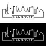 Skyline de Hannover estilo linear ilustração stock