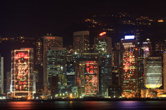 Skyline de Hong Kong e decorações chinesas do ano novo Imagens de Stock Royalty Free
