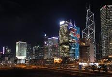 Skyline de Hong Kong em Noite Fotos de Stock Royalty Free